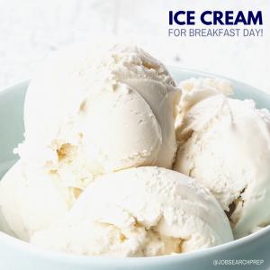 Ice Cream for Breakfast Day with bowl of vanilla ice cream